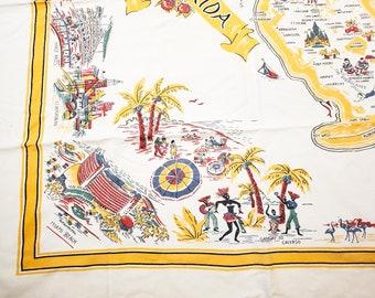 1950's Florida Almost Square Cotton Tablecloth Classic 1950's Florida Scenes Motif