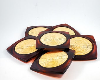 Tortoise Lucite yellow Raffia COASTERS Space age mod 1970s chic. Patio perfect for this summers entertaining