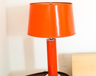Vintage PAIR of Bright Orange Mid Century Table Lamps with Coated Gloss Shades