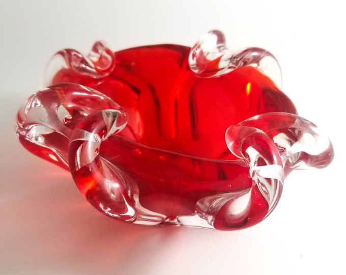 Luscious Red Murano Art Glass Ashtray