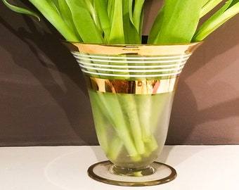 Gorgeous Glass Flower Vase with Gilt Horizontal Stripes and white bands. Flared opening and Pedestal Base