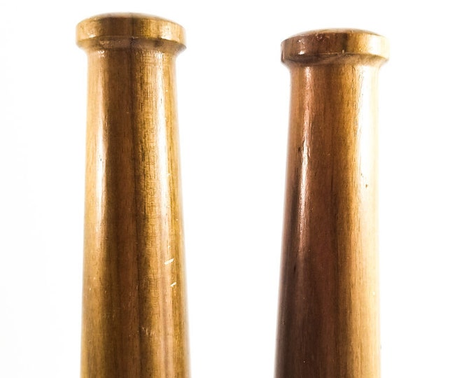 Super Tall Mid Mod Teak Salt and Pepper Shakers with Stoppers