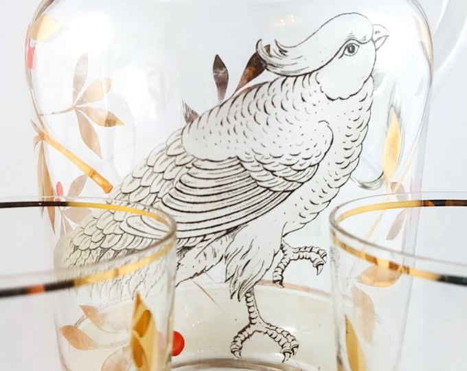 Stunning Hand Painted Gilt Glass Parrot Pitcher and Glasses