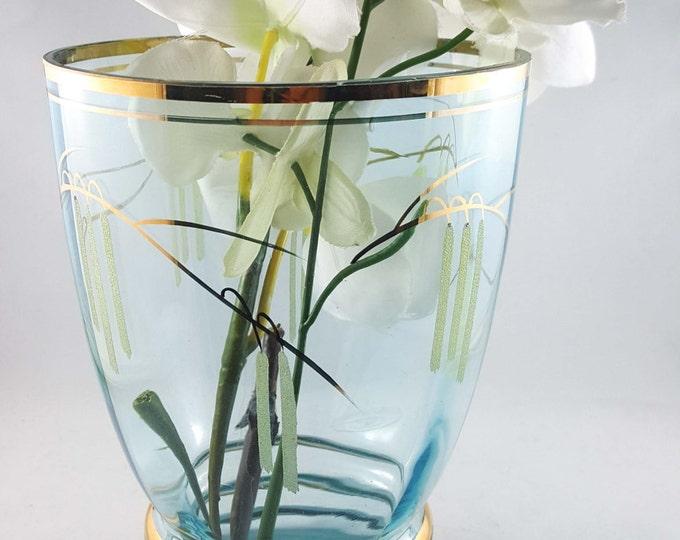 Gorgeous Blue Gilt Glass Flower Vase