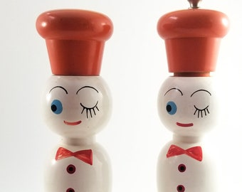 Vintage Tall Chef Wood Salt and Pepper Shakers