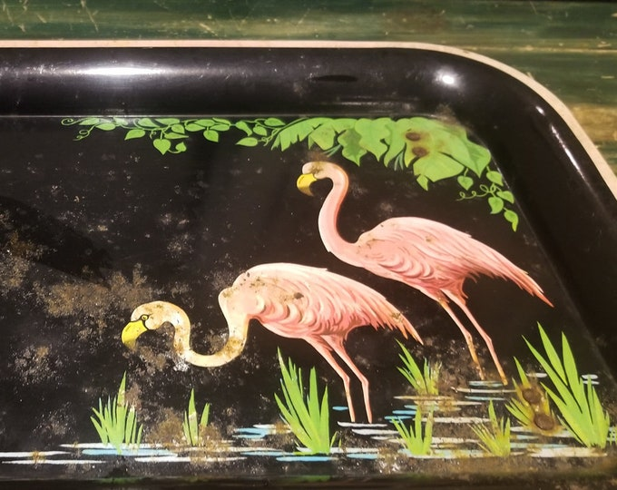 Vintage 50's Tin Cocktail or Serving Tray with Pink Flamingos