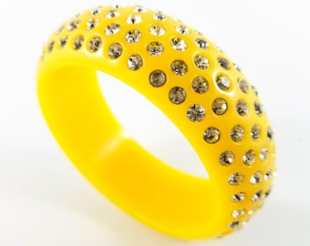 Stunning Yellow Acrylic Bangle Studded with 5 Rows of Rhinestones