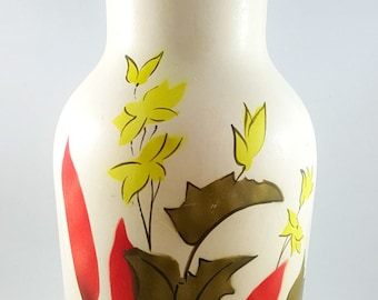 Beautiful Mid Century Handpainted Vase in Red Rushes Pattern