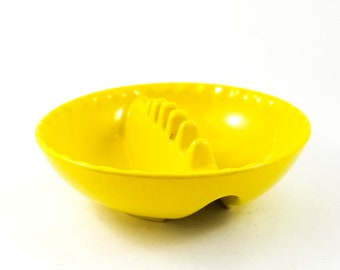 Mid Century Yellow Round Acrylic Ashtray/Trinket Dish
