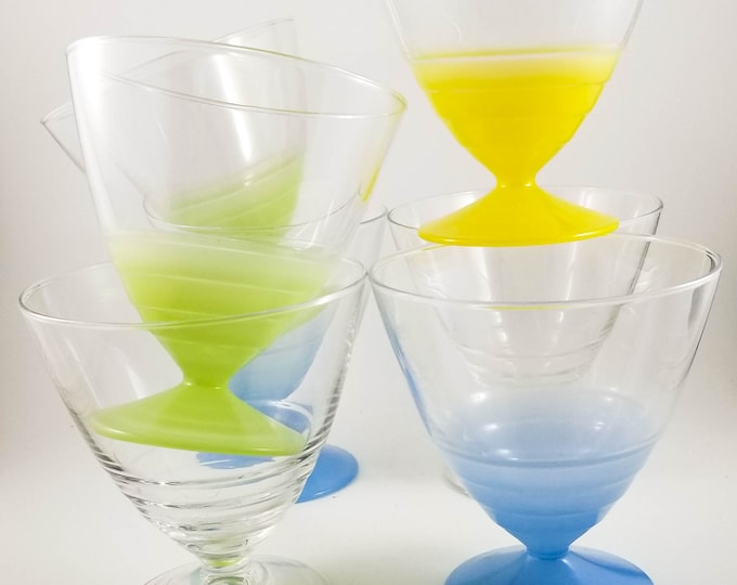 7 Gorgeous Multicoloured French ARC Glass Sherbet, Ice Cream, Mousse, Pudding Cups with pedestal base