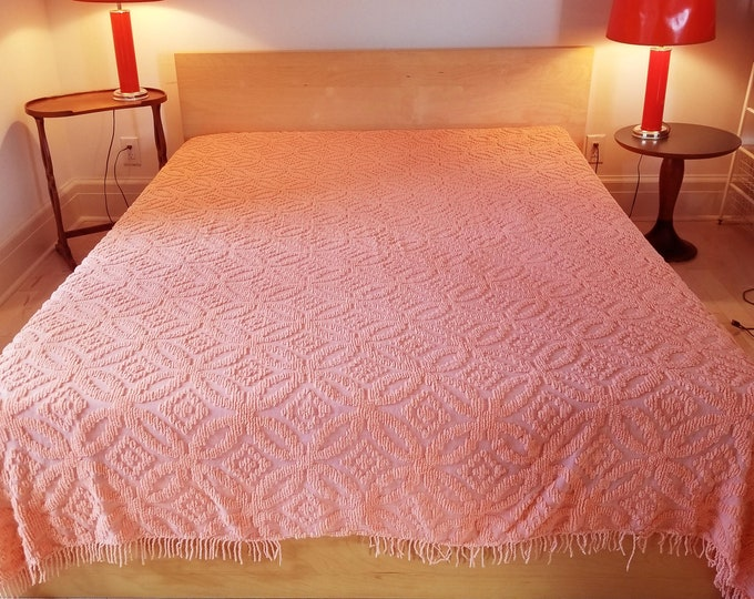 Gorgeous Salmon Colored Double Chenille Bedspread in Double Wedding Ring Pattern