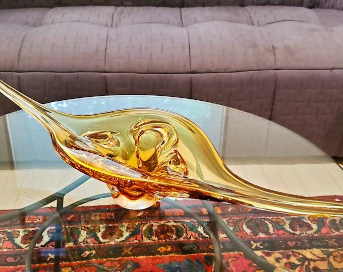 Amber Stretched Chalet Glass Basket, Murano Glass, Art Glass Basket