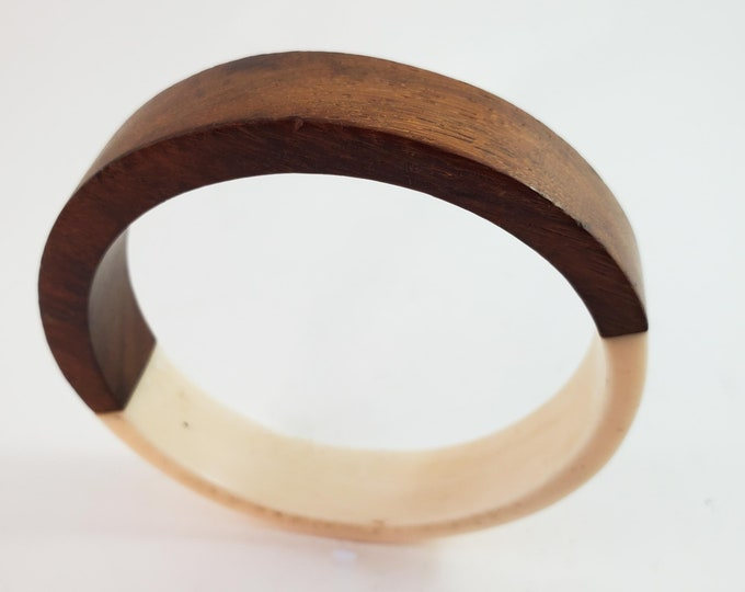 Vintage fused wood and ivory acrylic Bangle.