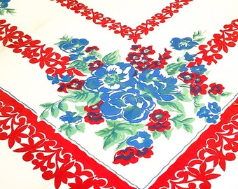 "Stunning 1950's Country Kitchen Red Bordered Rectangular Cotton Tablecloth with Gorgeous Bold Blue and red Floral Motif - 46""x51.5"""
