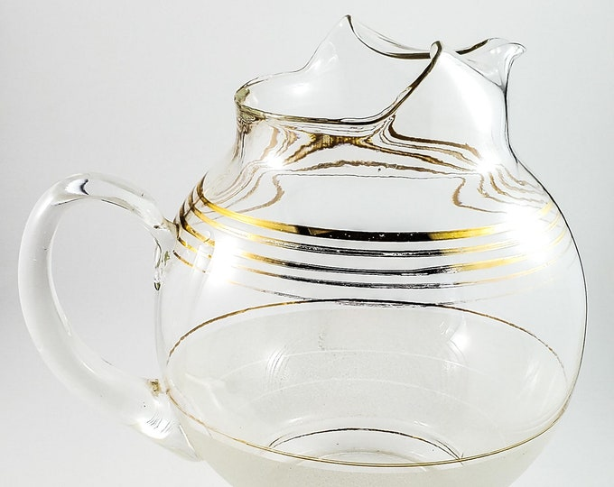 1950's clear Vintage Partially Frosted Cocktail Pitcher, Mid Century Modern Glass, Gold Gilt Retro Barware, Gilt banding,
