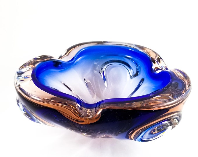 Royal Blue and Pink Art Glass Ashtray/Trinket Bowl