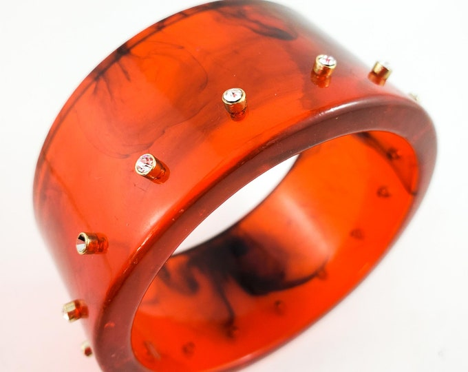 Stunning Tortoise Acrylic Bangle Studded with Rhinestones of Center.