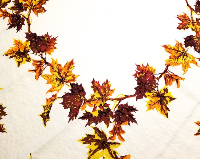 1950's Country Kitchen Square Cotton Tablecloth with Autumn Leaves Motif