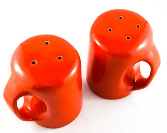 Mid Century Red Oversized Salt and Pepper Shakers Labelled OCI Omnibus Japan
