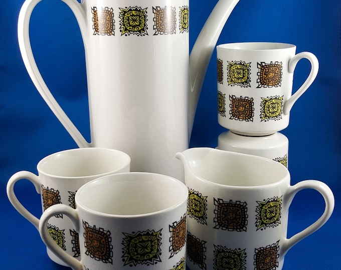 Elegant Myott Aztec Vintage Coffee Pot Set