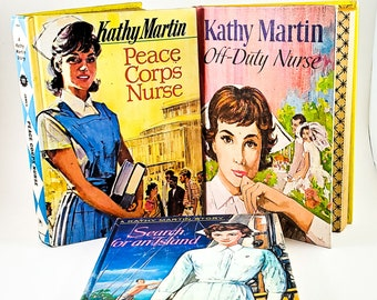 Vintage 1960's Book Set - Kathy Martin Junior Nurse. #7, 10 + 12. Vintage Young Teen Book from 1960s, Golden Press, by Josephine James