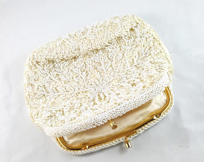 Magnificent Hand Beaded White Wedding Bag with Gold Chain