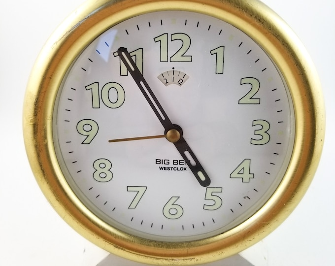 Big Ben Metal Wind Up Alarm Clock in White with Glow in the DarkNumbers and Brass Rim and Top Button