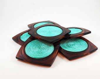 Tortoise Lucite Aqua Raffia COASTERS Space age mod 1970s chic. Patio perfect for this summers entertaining