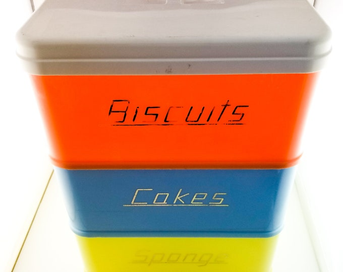 Fantastic and Rare Australian Made Stackable Nallyware Giftware Kitchen Canisters and Carriers in Orange Blue and Yellow