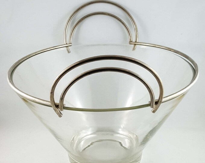 Chrome Handled and Rimmed Glass Bowl