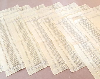 Vintage Yellow Linen Dinner Napkins/Placemats // Set of 8 //