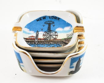 Super Cool Set of  Mini Personal Ashtrays with Caddy NYC Highlight Building Themed