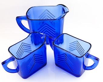 Cobalt Blue Chevron Molded Glass Deco Cream and Sugar, Open Sugar Bowl, Hazel Atlas