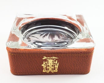 Very Cool Stitched Leather and Glass Hi End Souvenir Ashtray from Jamaica. Mid Century Modern | Amber Trinket Dish