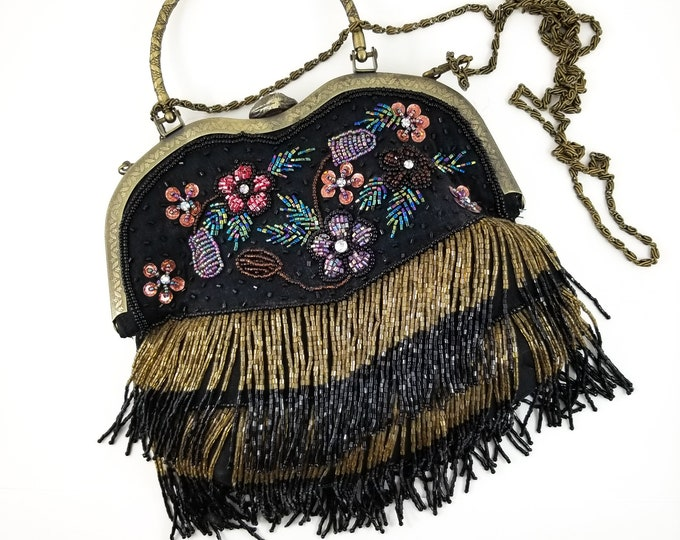 Fabulous 1960's Vintage Beaded Flapper Style Beaded Fringe Purse Brass Latch Handbag with Floral Beaded Encrusted Front