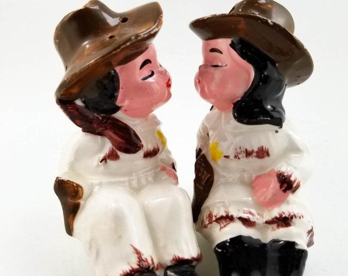 1950s Vintage Cowboy Couple Salt and Pepper Set