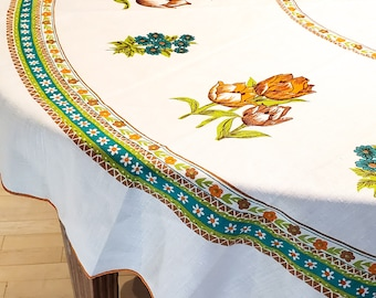 1950's Country Kitchen Round Linen Tablecloth with Floral Design and Orange Trim at the edges.