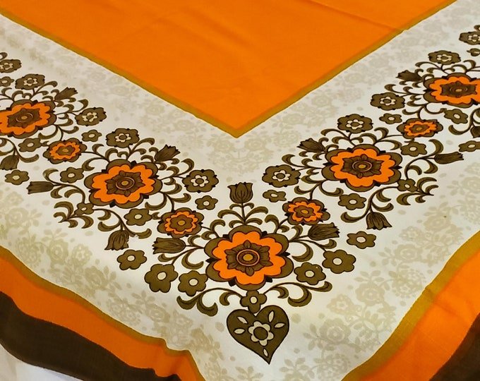 Gorgeous 1980's Burnt Orange and Brown Cotton Tablecloth with Graphic Floral Border Motif