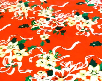 1950's Red Round Cotton Tablecloth with Floral Design and Trim at the edges.