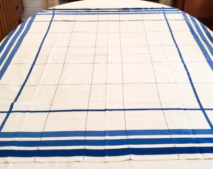 1950's Country Kitchen Cotton Tablecloth with Blue White Plaid Motif