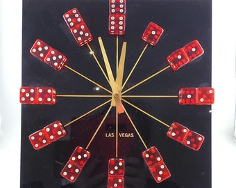 Fabulous Vintage Acrylic Black Vegas Casino Tabletop Clock with Red clear dice To mark the Numbers and Brass Hands