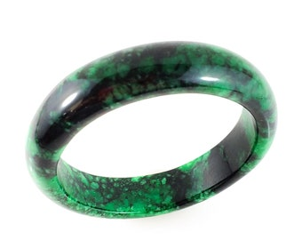 Gorgeous Mottled Imperial Green and Black Jade Bangle