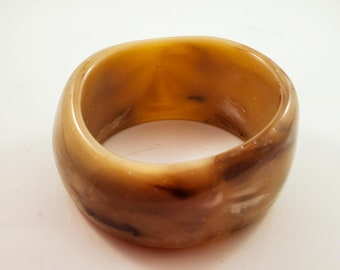 Gorgeous Acrylic Bangle in Taupe with Creamy Marbleized swirling and striations