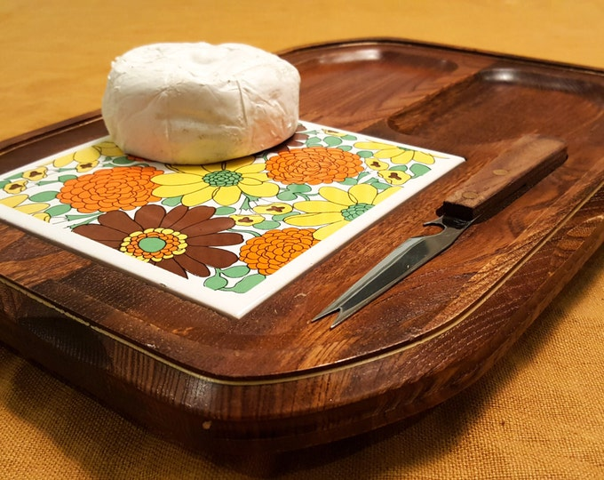 1970's Teak Cheese Board with Funky Floral Tile