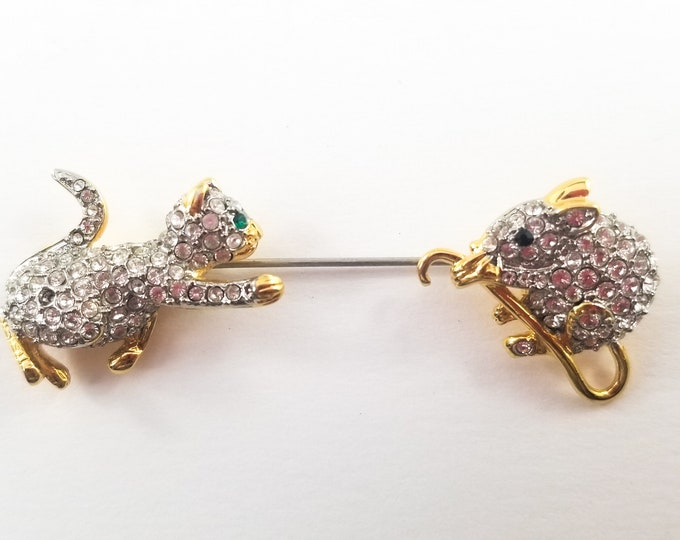 Vintage Genuine Austrian Crystals Butler Cat and Mouse Brooch Pin Hallmarked FAC