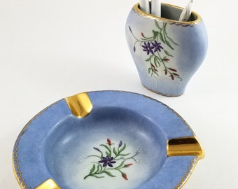 Beautiful Set of Arabia Made in Finland Porcelain Ashtray and Holder in Powder Blue and Gold with Floral detail