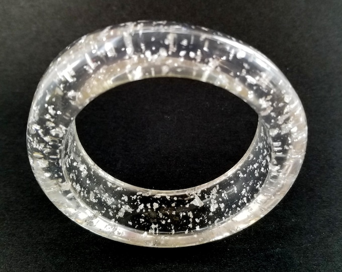Gorgeous Clear Lucite Bangle with Embedded Glitter