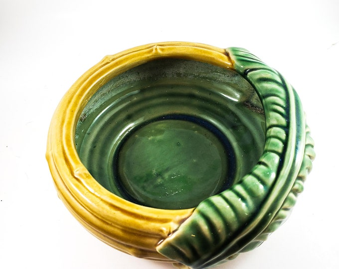 Ceramic Bamboo Glazed Indoor Planter or Candy and Nut Bowl