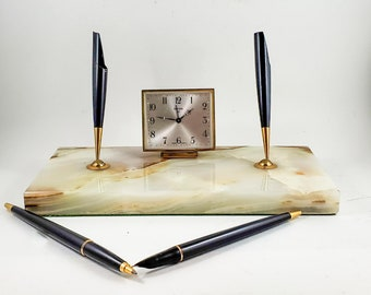 Swiza Parker Marble Desk Set with Ball Point and Fountain Pen and Swiss Clock