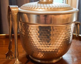 AWESOME FATHER'S DAY Gift!! Hammered Aluminum Mid Century Ice Bucket with tongs